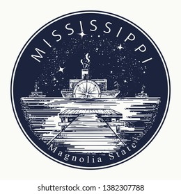 Mississippi. Tattoo and t-shirt design. Welcome to Mississippi, (USA).  Magnolia state slogan. Travel concept