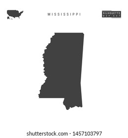 Mississippi US State Blank Vector Map Isolated on White Background. High-Detailed Black Silhouette Map of Mississippi.
