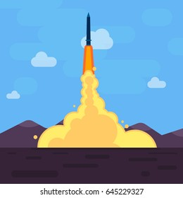 Missle shooting from ground, flat style vector illustration eps 10