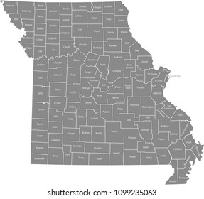 Missouri county map vector outline gray background. Map of Missouri state of USA with counties borders and names labeled