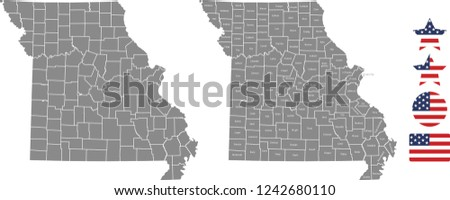 United States Map With County Names.Missouri County Map Vector Outline Gray Stock Vector Royalty Free