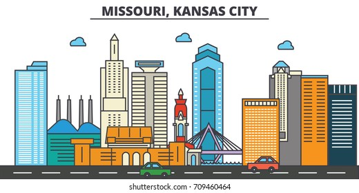 Missouri, Kansas City.City skyline: architecture, buildings, streets, silhouette, landscape, panorama, landmarks, icons. Editable strokes. Flat design line vector illustration concept.
