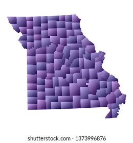 Missouri map. Geometric style us state outline with counties. Classy violet vector illustration.