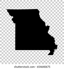 Missouri map isolated on transparent background. Black map for your design. Vector illustration, easy to edit.
