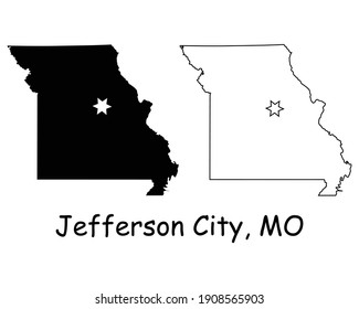Missouri MO state Map USA with Capital City Star at Jefferson City. Black silhouette and outline isolated on a white background. EPS Vector