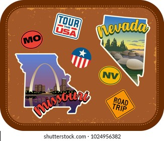 Missouri, Nevada travel stickers with scenic attractions and retro text on vintage suitcase background