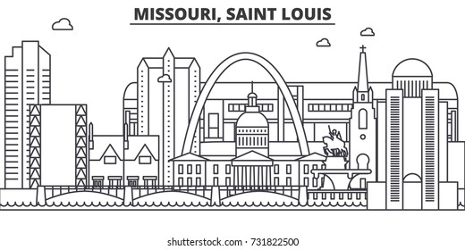 Missouri, Saint Louis architecture line skyline illustration. Linear vector cityscape with famous landmarks, city sights, design icons. Landscape wtih editable strokes
