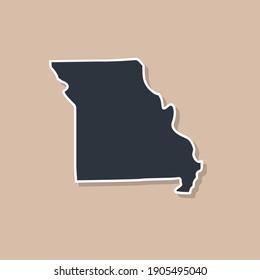 Missouri state borders, United States of America. Missouri border map. Political borders of the USA Missouri state.