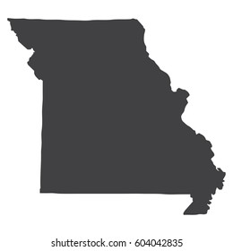 Missouri state map in black on a white background. Vector illustration