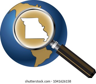 Missouri State Map Enlarged with Magnifying Glass on Globe