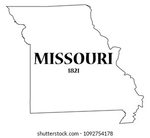 A Missouri state outline with the date of statehood isolated on a white background