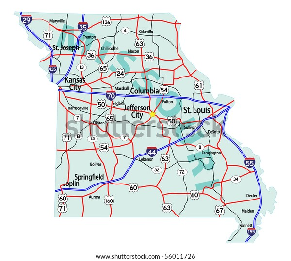 Missouri State Road Map Interstates Us Stock Vector (Royalty ...