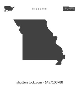 Missouri US State Blank Vector Map Isolated on White Background. High-Detailed Black Silhouette Map of Missouri.