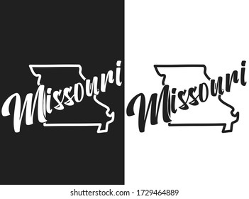 Missouri vector logo. Set of black and white emblems of the USA. Illustration of the name of the US state. Image with inscription and outline of the territory of the United States of America.