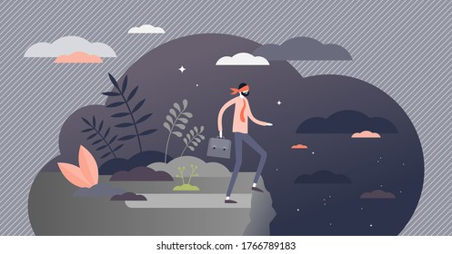 Mistakes in business as unknown future possibility in flat tiny persons concept. Wrong decisions and fail in work. Job failure metaphor as blind leader in front of the gorge. Unavoidable problem scene