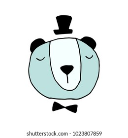 Mister Bear With a Tophat and Bowtie Hand Drawn Doodle Vector Illustration
