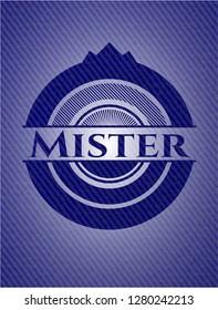 Mister emblem with denim texture