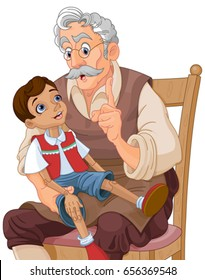 Mister Geppetto teaches Pinocchio doll