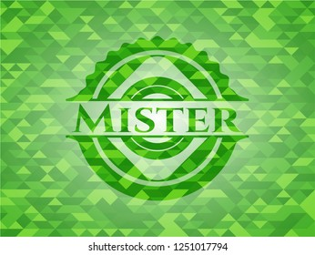 Mister green emblem with triangle mosaic background