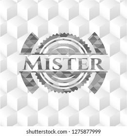 Mister grey emblem. Retro with geometric cube white background