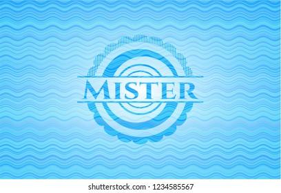 Mister light blue water wave emblem background.