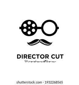 Mister Movie Video Cinema Cinematography Film Production concept mr producer using hat logo design vector icon illustration Isolated White Background