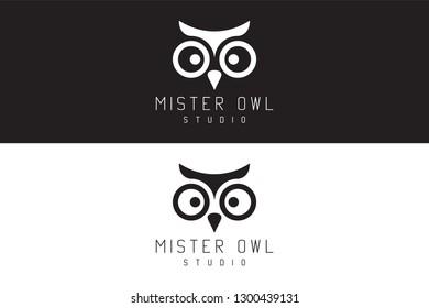 Mister owl studio. Logo Design. Creative business concept. Elegant animal template.