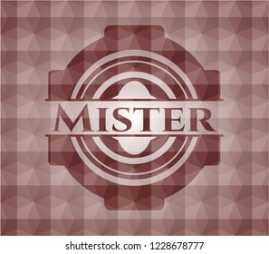 Mister red emblem or badge with abstract geometric pattern background. Seamless.