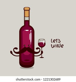 Mister Red Wine. Bottle of red wine with wine glass vector illustration. Funny cartoon character for Wine label.