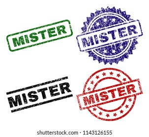 MISTER seal prints with corroded surface. Black, green,red,blue vector rubber prints of MISTER caption with corroded style. Rubber seals with round, rectangle, medal shapes.
