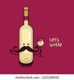 Mister White Wine. Bottle of white wine with wine glass vector illustration. Funny cartoon character for Wine label.