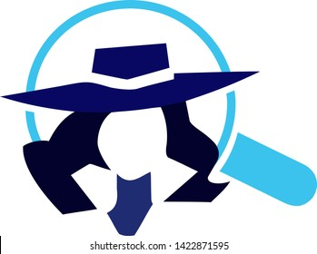 Mistery woman investigation secret vector