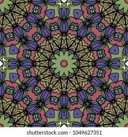 mistic floral seamless pattern. vector illustration. dark color. for print, fashion design