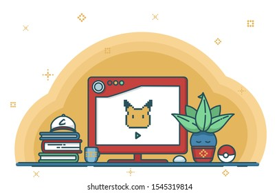 Mistical pokemon trainer's workplace with pokeball and pikachu pixel art on the display. Isolated line art on the white background.