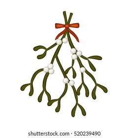 Mistletoe berries and leaves. Sprig with a red bow. A Christmas decoration. Vector illustration.