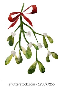 Mistletoe, Christmas, watercolor