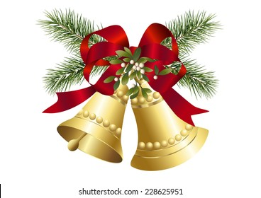 Mistletoe, fir twig and christmas bells