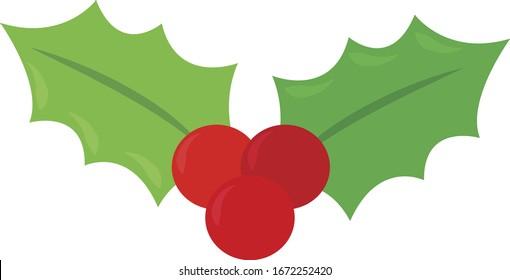 Mistletoe, illustration, vector on white background.