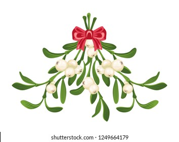 Mistletoe isolated on white background. Hanging mistletoe sprigs with green leaves, white berries and a red bow. Vector illustration in cartoon flat simple style.