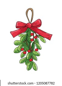 mistletoe with red berries vector. christmas