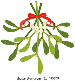 Mistletoe with red bow and curly ribbon, isolated on white background