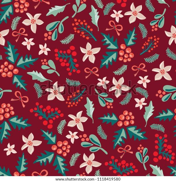 Mistletoes Christmas Flowers On Dark Red Stock Vector ...