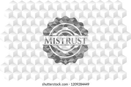 Mistrust grey emblem with geometric cube white background