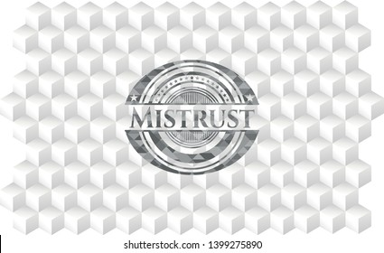 Mistrust realistic grey emblem with cube white background