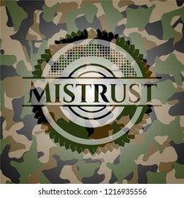 Mistrust written on a camo texture