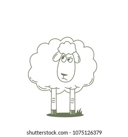Mistrustful sheep looking at someone. Outlined vector illustration.