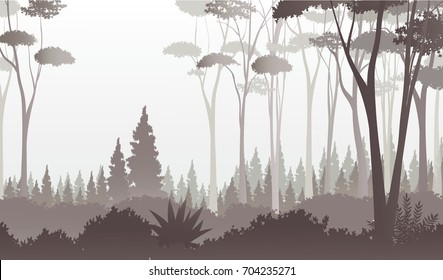 Misty Dark Forest Illustration with Trees, Pines, Bushes and Fog