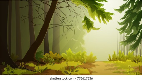 Misty forest landscape illustration