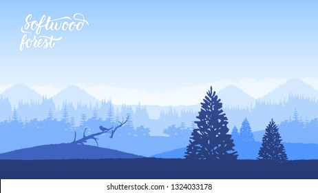 Misty landscape with fir forest in hipster vintage retro style. Forested mountain slope  with the evergreen conifers landscape. Template land page wallapapers design concept