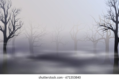 Misty landscape. Silhouettes of trees. Vector background with fog and trees. Mitic concept